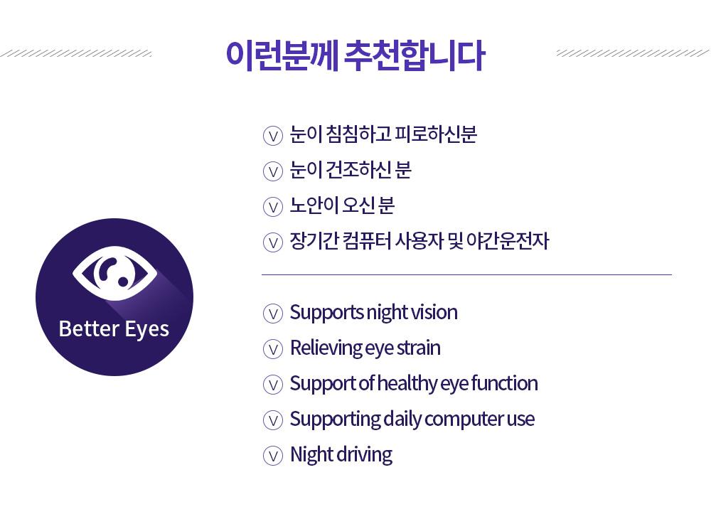 이런분께 추천합니다. 눈이 침침하고 피로하신분 눈이 건조하신 분 노안이 오신 분 장기간 컴퓨터 사용자 및 야간운전자 Supports night vision Relieving eye strain Support of healthy eye function Supporting daily computer use Night driving